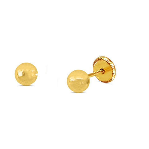 BecKids 18k Gold Polished Ball Stud Earrings, 5mm