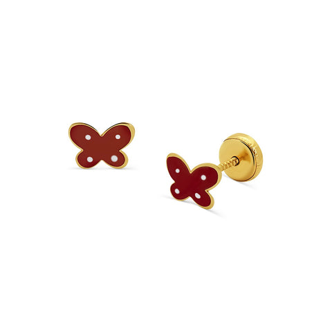 Red Enamel Butterfly Stud Earrings