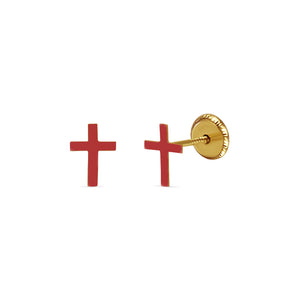Red Enamel Cross Earrings