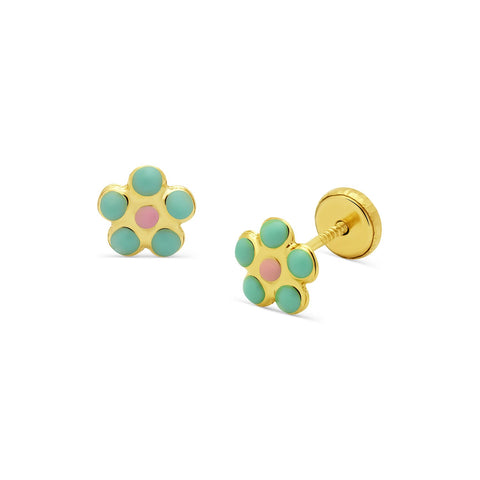 Pastel Flower Stud Earrings