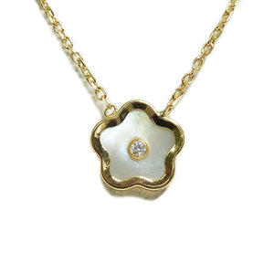 BecKids 14k Yellow Gold Mother of Pearl Flower Necklace