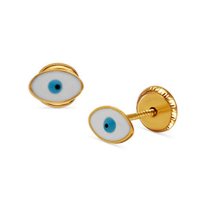 18k Gold Enamel Evil Eye Stud Earrings - Screw Back Posts