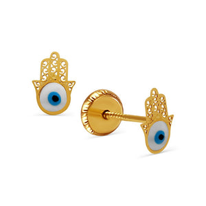 18k Gold Evil Eye Hamsa Stud Earrings