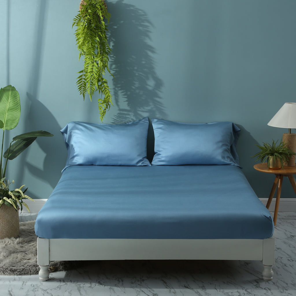 Moonlake Blue Fitted Sheet Set