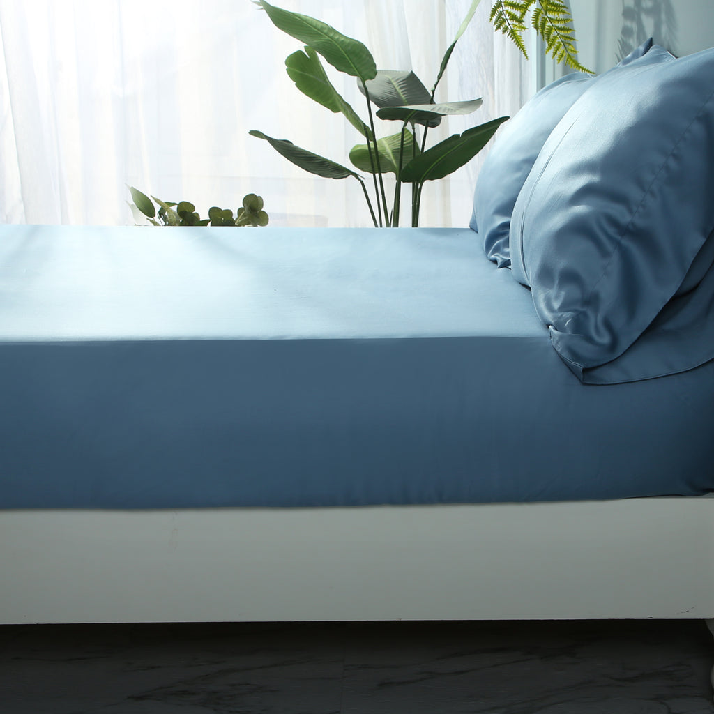 Moonlake Blue Fitted Sheet Set - EASVEN