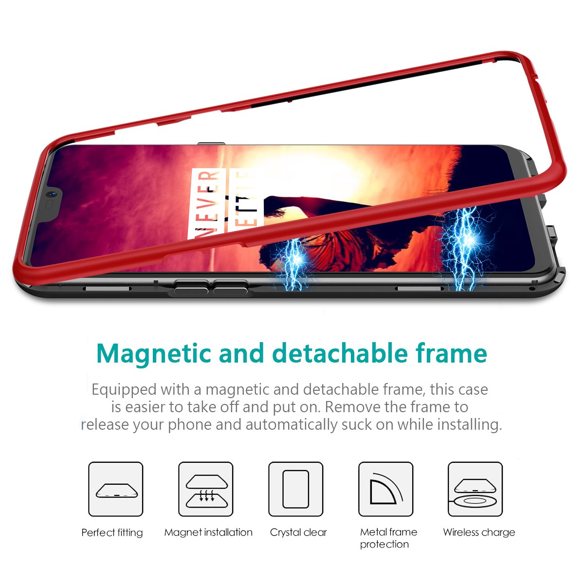 e40e92b7c2f 2 In 1 Phone Case For Oneplus 6 Cover Hard Transparent Back Magnetic P