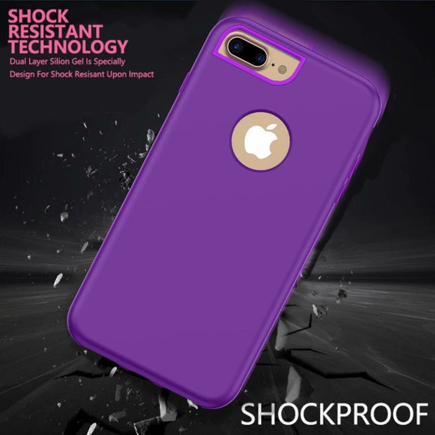 3 In 1 PC Rubber Combo Shockproof Hard Slim Armor Defender Case Cover For IPhone 6 7 8 Plus