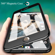 360 Magnetic Phone Cases For IPhone X 8 7 6 6S Plus Samsung S9 S8 Plus Note 9 8 Case Luxury Hard PC Tempered Glass Cover + Film