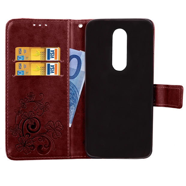 3D Leather Card Holder Stand Magnetic Flip Clover Wallet Cover For Motorola Moto M XT1663 XT1662 32GB 64GB 5.5 Inch Phone Cases