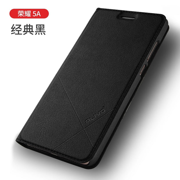 ALIVO SFor Huawei Y6 II Y6II Cover Business Flip Case For Huawei Honor Holly 3 Dual Sim PU Leather Case Phone Shell Stand Capa