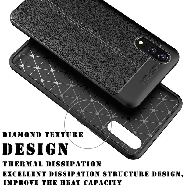Axbety For Huawei P20 Pro Luxury Litchi Pattern Ultra Slim Phone Case For Huawei P20 Case Soft Silicone TPU Protection Cover