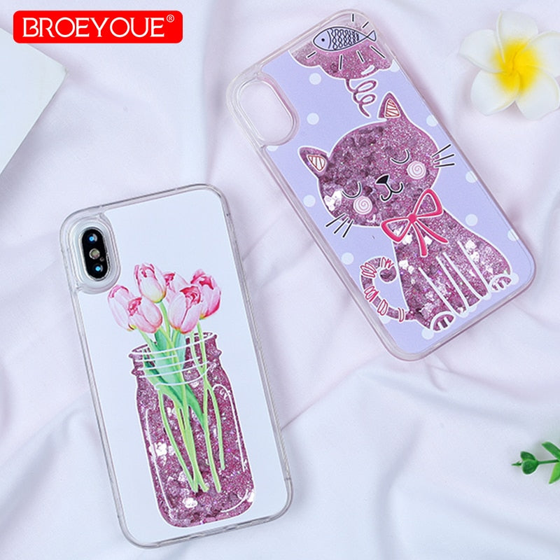 BROEYOUE Bottle Quicksand Case For Iphone X 5S Plus Silicone TPU Dynamic Liquid Glitter Cover For Iphone 6 6S 7 7 Plus Fundas