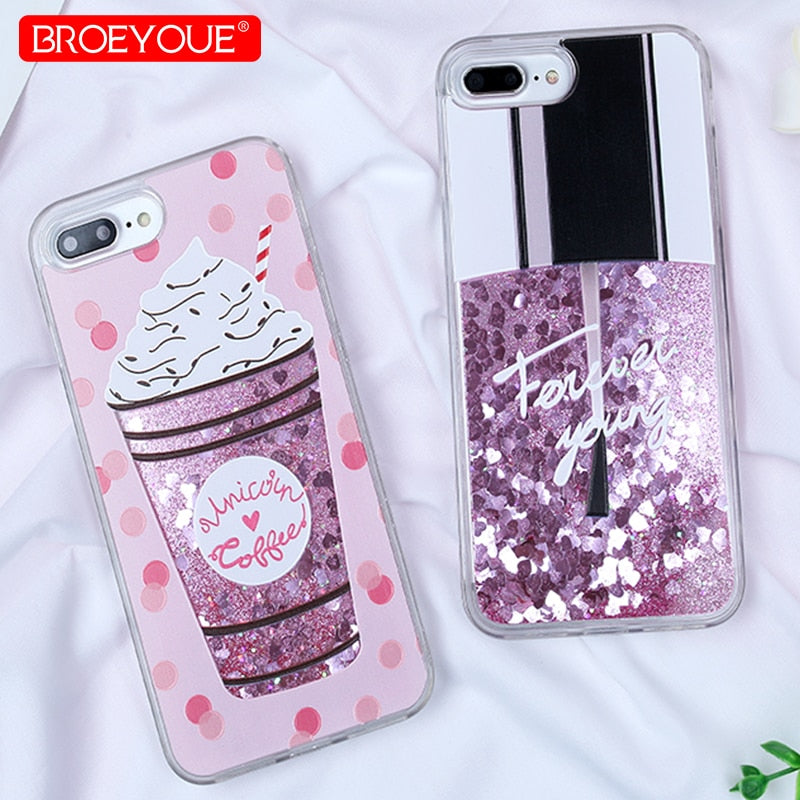 BROEYOUE Case For IPhone 8 Plus 6 6S 7 Plus 5 5S X SE Hard Shell Dynamic Liquid Glitter Quicksand Perfume Cat Pattern Phone Case