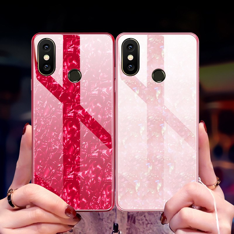 Bakeey Bling Glossy Protective Case For Xiaomi Mi8 Mi 8 6.21 Inch Cover Case Tempered Glass Soft-Edge Back Shell Cases 2018 New