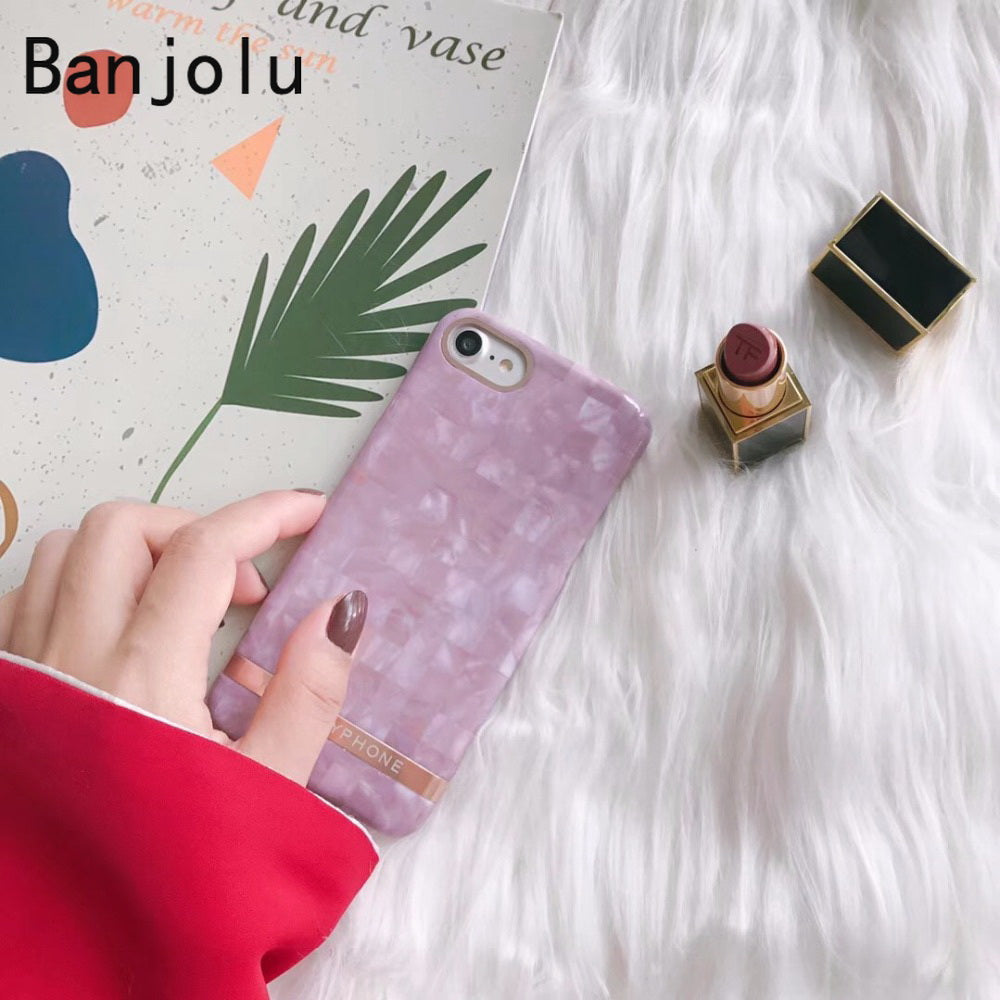 Banjolu New Retro Glossy Shinny Marble Pattern Red Wine Phone Cases For IPhone X 8 7 Plus 6 6s 6Plus 6sPlus Hard Back Cover