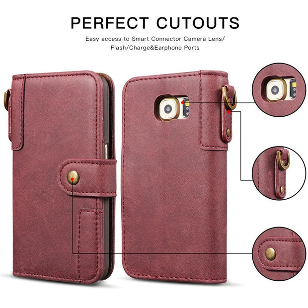 Bosilang For Samsung Galaxy S6edge Retro Style Magnetic Flip Wallet Leather Cell Foldable Stand Soft Lining Cash Slot Phone Case
