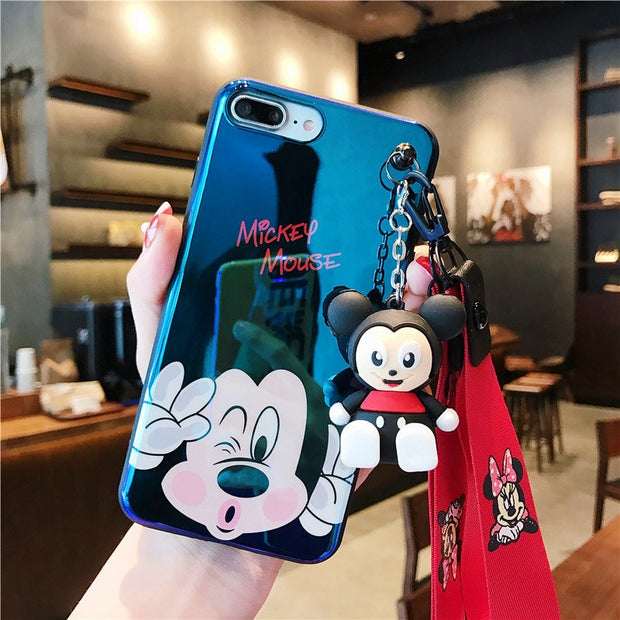 Cartoon Mickey Minnie Blue Light IMD Case For IPhone XS XR XS MAX Doll And Hanging Rope Case For IPhone X 6 6S 7 8 Plus Case