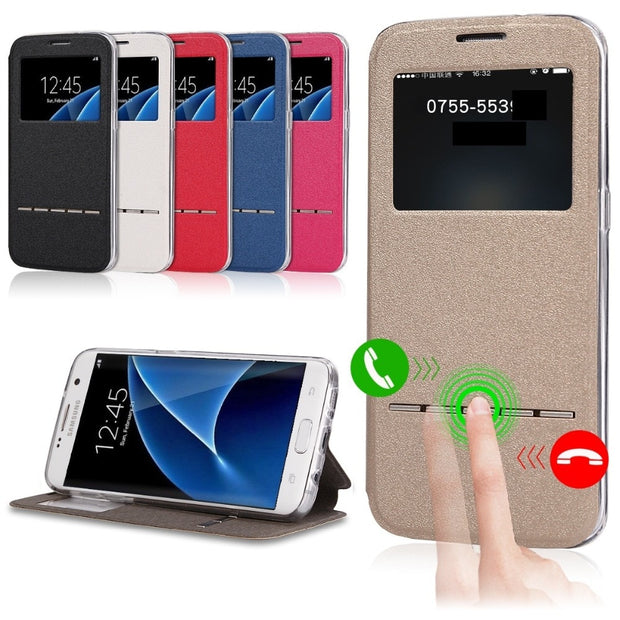 Case For Samsung Galaxy Grand Prime G530 G530H G531 SM-G531F Smart Flip Cover Window View Soft Protection Phone Case Funda Coque