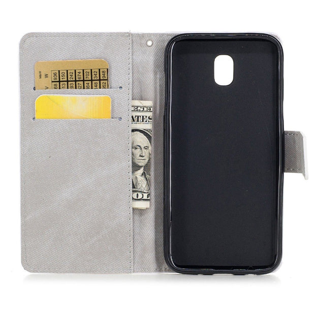 Case For Samsung Galaxy J730 Phone Cover Bags Photo PU Leather For Samsung J7 Pro Case Wallet Flip Retro