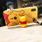 Case For IPhone X XR XS MAX Cute Winnie Stitch Back For For IPhone 6 6S Plus 7 8 Plus Cartoon Bear Cases Phone Cover+Toys +Strap