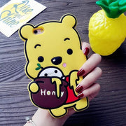 Case For Galaxy S8 S5 S6 S7 Edge Plus A7 A5 Cute 3D Winnie Bear Phone Back Cover Cartoon Bear Cover Silicone Funda Coque Brand
