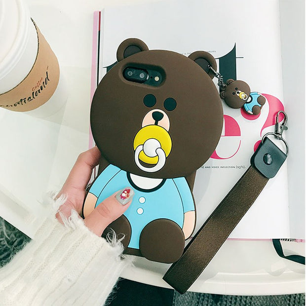 Case For OPPO R11 R11S R9 R9S Plus A37 A57 A59 F1S 3D Nipple Bear Phone Back Cover Cute Cartoon Rubber Cover Funda Coque Brand