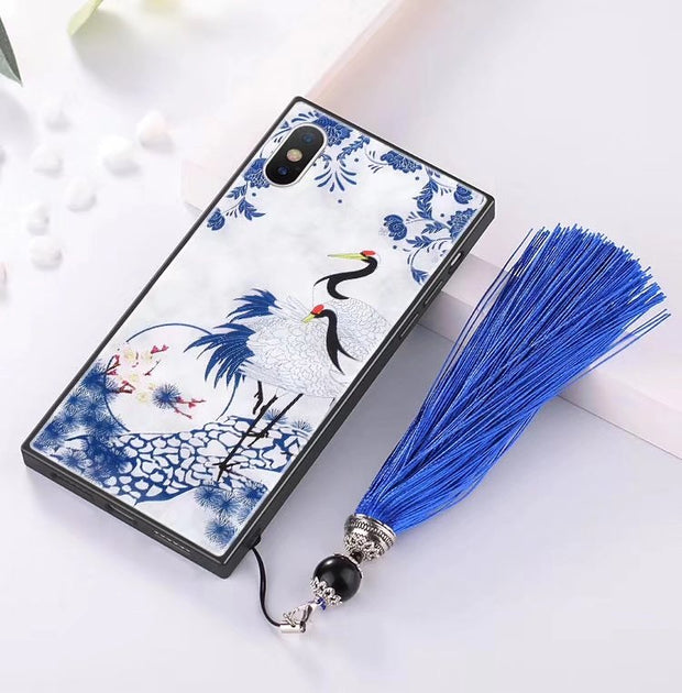 Ceramics Case For IPhone 7 8 Plus Luxury Dragon Koi Landscape Blue And White Porcelain Flower For IPhone X Porcelain Case Cover