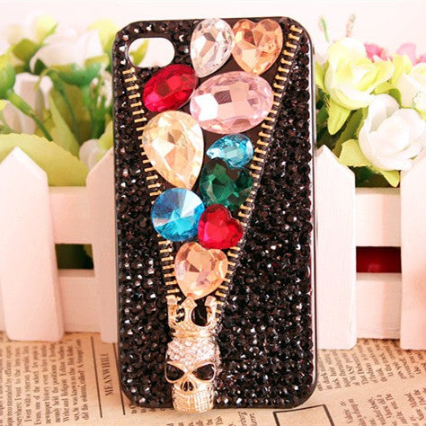 Cool Diamond 3D Skeleton Crown Bling Zipper Case For Samsung Galaxy S10 Lite S10 S9 Plus/S9/S8 Plus/S8/Note 9 8 Skull Zip Capa