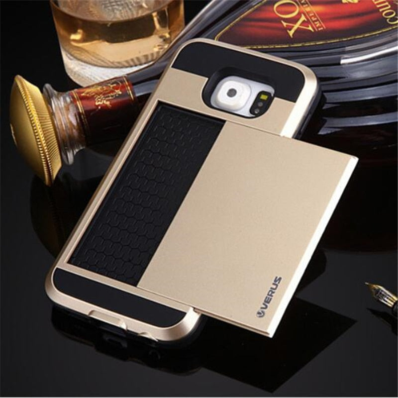 Couqe Back Card Cover For Samsung Galaxy S3 S4 S5 S6 Edge Plus S7 G530 G360 A7 Note 3 4 5 Slide Hide Card Design Capa Etui Ajax