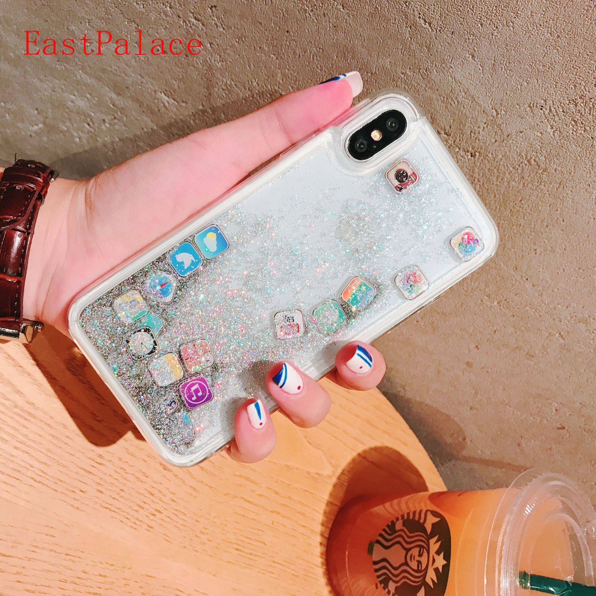 Cute Amusing Mobile Apps Music Icon Pattern Phone Case Cover For Iphone X XS 6 6s Plus 10 7 8 Plus Glitter Liquid Quicksand Case
