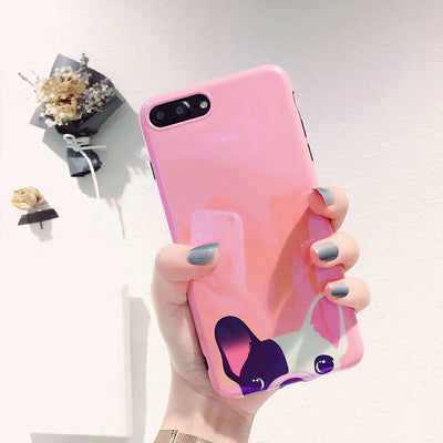 Cute Funny French Bulldog Puppy Blue Ray Pink Phone Case For Apple IphoneX 8 8plus 6S 7plus Fundas