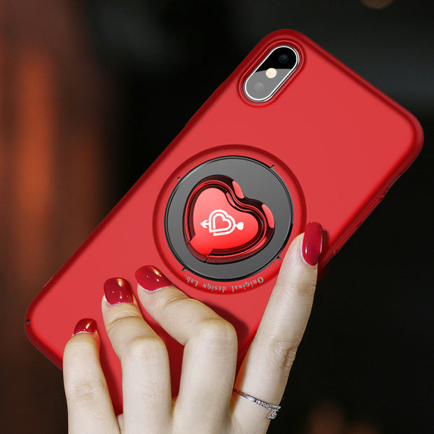 Cute Holder Case For IPhone X 8 7 Plus Phone Cases Love Heart Ring Case For Iphone X 10 8 Plus Kickstand Holder Stand Back Cover
