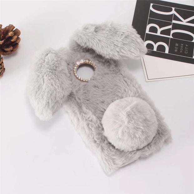 Cute Rabbit Warm Furry Fur Case For MOTO Z3 Play Case Luxury Rhinestone Diamond Phone Case For Motorola MOTO Z3 Play Cover Case