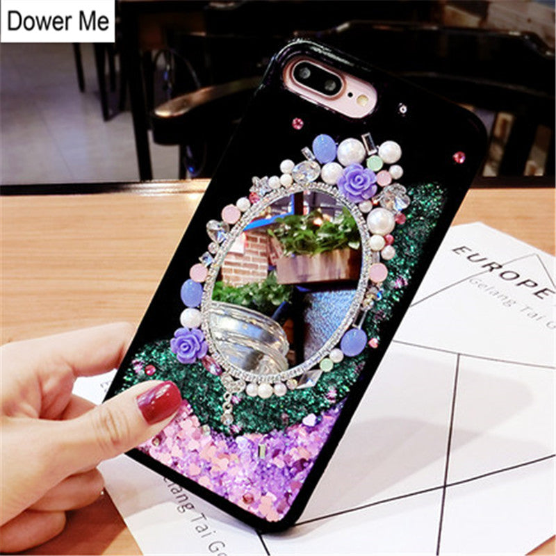 Dower Me Diamond Mirror Pearl Flower Dynamic Liquid Glitter Quicksand Case Cover For IPhone XS Max XR X 8 7 6 6S Plus 5 5S SE