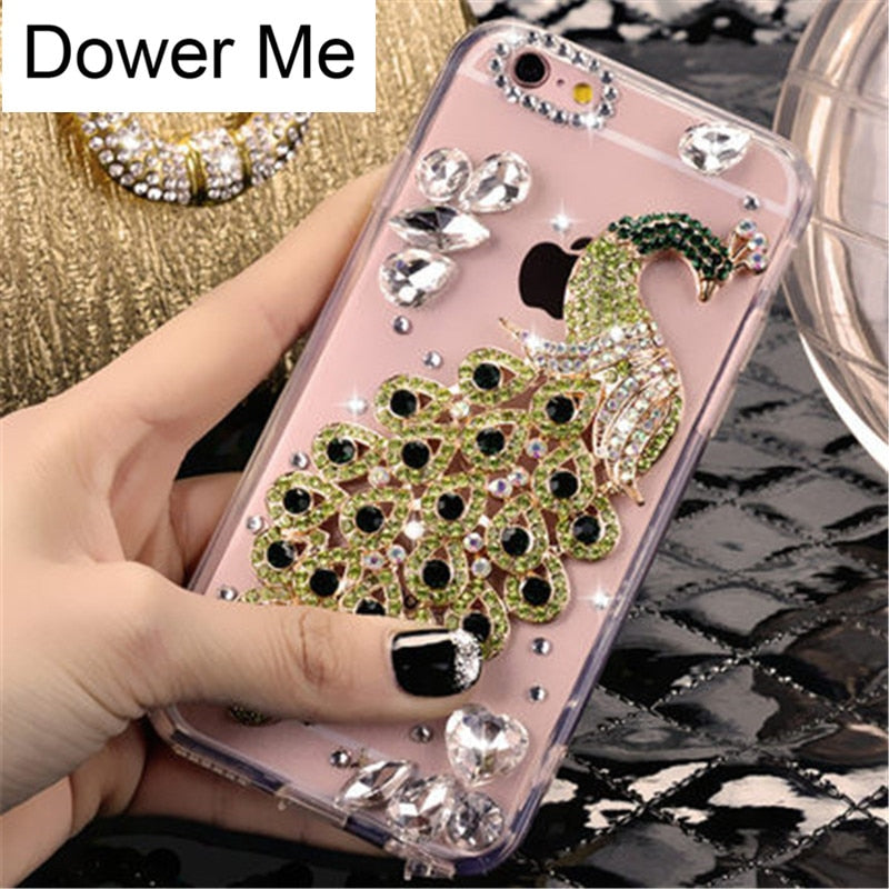 Dower Me Fashion Bling Crystal Diamond Beautiful Peacock Clear Phone Case Cover For Iphone XS Max XR X 8 7 6 6S Plus 5 5S SE