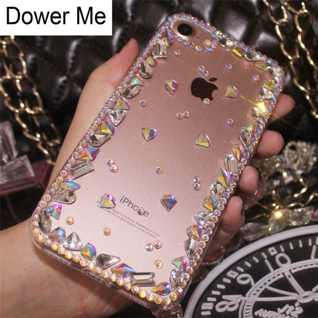 Dower Me Fashion DIY Special Shaped Bling Crystal Diamond Case Cover For Iphone X 8 7 6 6S Plus 5 5S SE 5C 4 4S