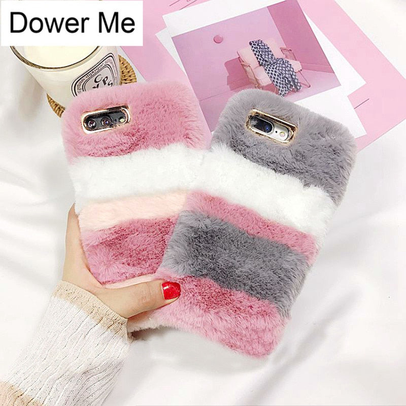 Dower Me Fashion Super Cute Winter Warm Stripe Color Fluffy Rabbit Fur Soft Phone Case Cover For Iphone XS Max XR X 8 7 6S Plus