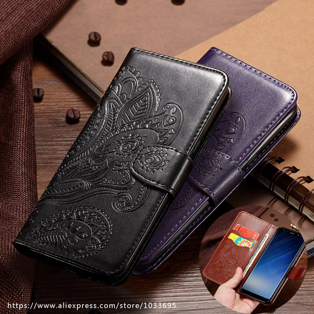 Embossing Peacock Flower Phone Case For Samsung Galaxy S6 S7 S8 Plus Edge Leather Flip Wallet Pocket Cover For Samsung S8 Plus
