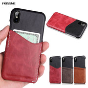 FKISSME Vintage Genuine Leather Case For IPhone X Luxury Hard Back Cover For IPhone X Case Couqe Card Slot Protect Phone Cases
