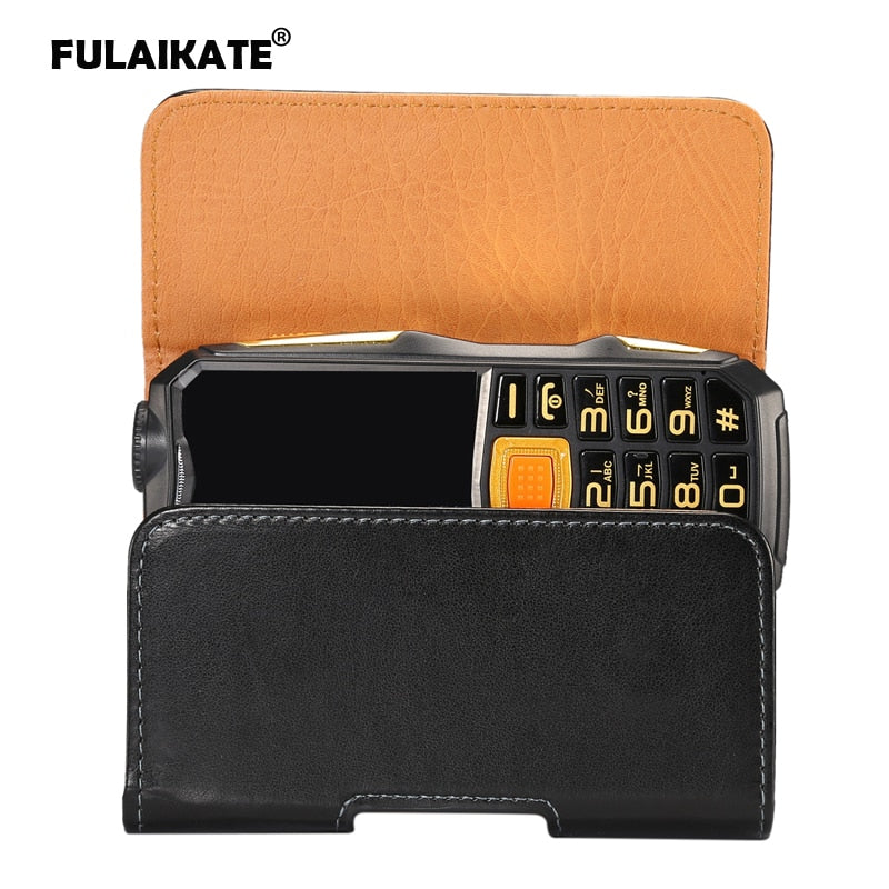 FULAIKATE Universal Leather Waist Bag For Gionee W909 Old Men Mobile Phone Portable Pocket 2.2 Cm Width Smooth Climbing Pouch