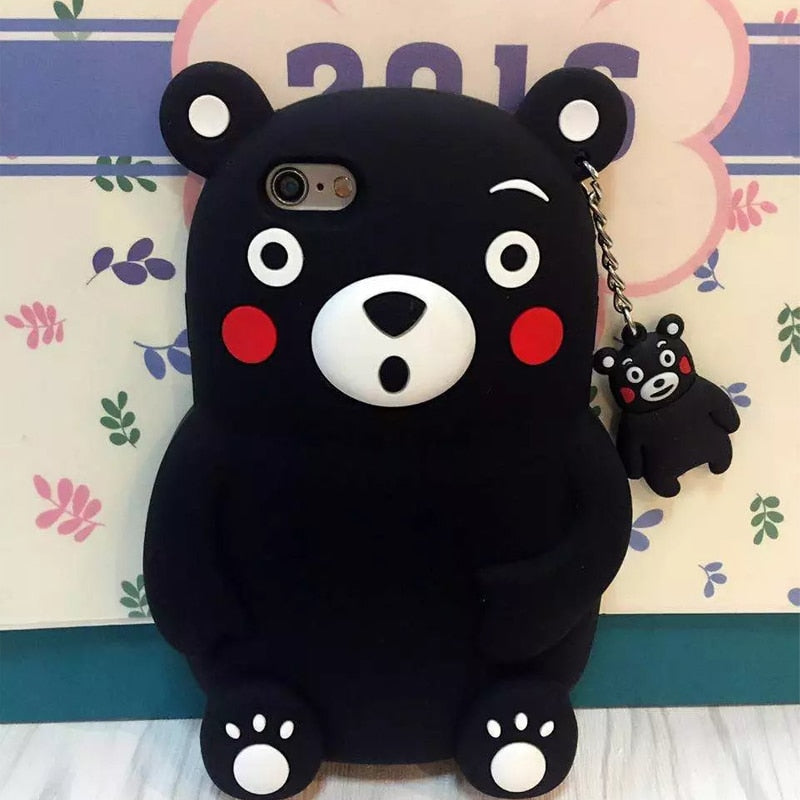 Fashion Cute Phone Case For IPhone6 7 Plus 3D Cartoon Kumamon Bear Silicone Cover For IPhone 5 5s Se 6 6s 6plus Rubber Case