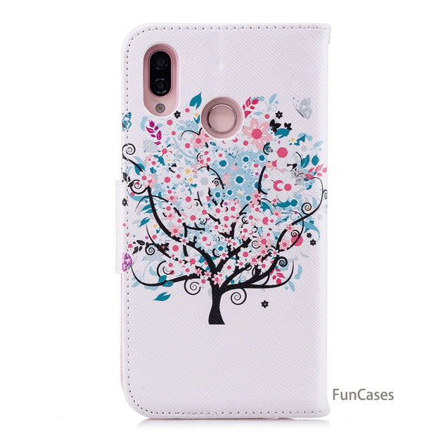 Feather Flip Phone Case SFor Hoesjes Huawei P20 Lite Soft Silicone Back Cover Luxury Marble Bumper Case Huawei Ascend Nova 3E