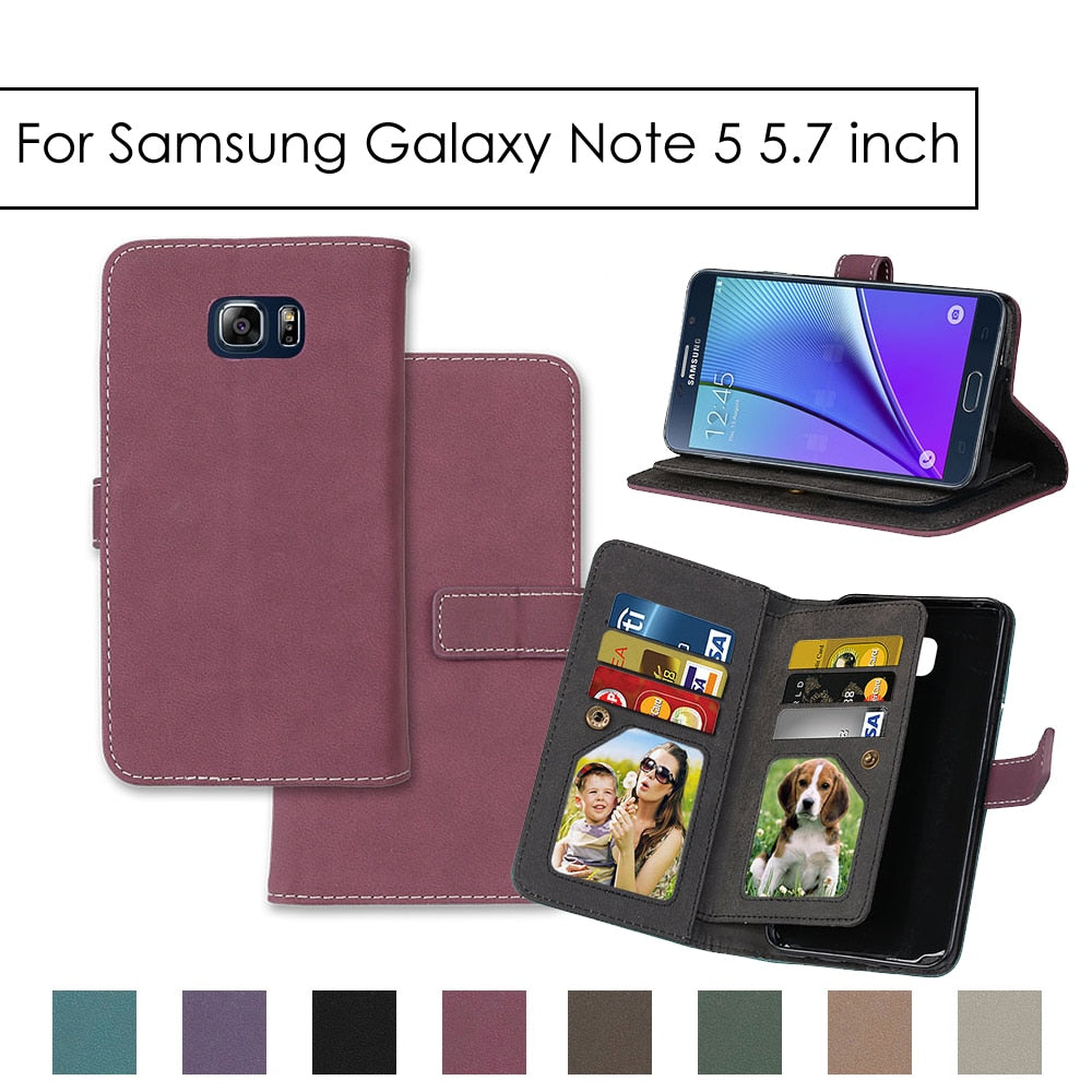 "Flip Matte Leather Case For Samsung Galaxy Note 5 5.7"" Wallet Cover Stand Holder Plain Cases 9 Card Slot Magnetic Buckle Shells"