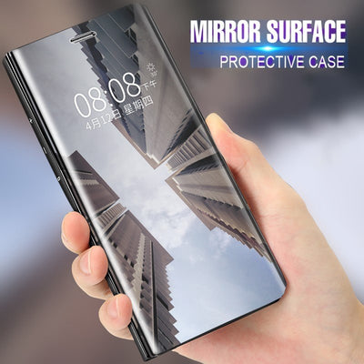 Flip Stand Mirror Case For OPPO F7 F5 R11 R11Plus A71 A83 A59 R15 Mirror Clear View PU Leather Cover For OPPO Find X Coque Capa