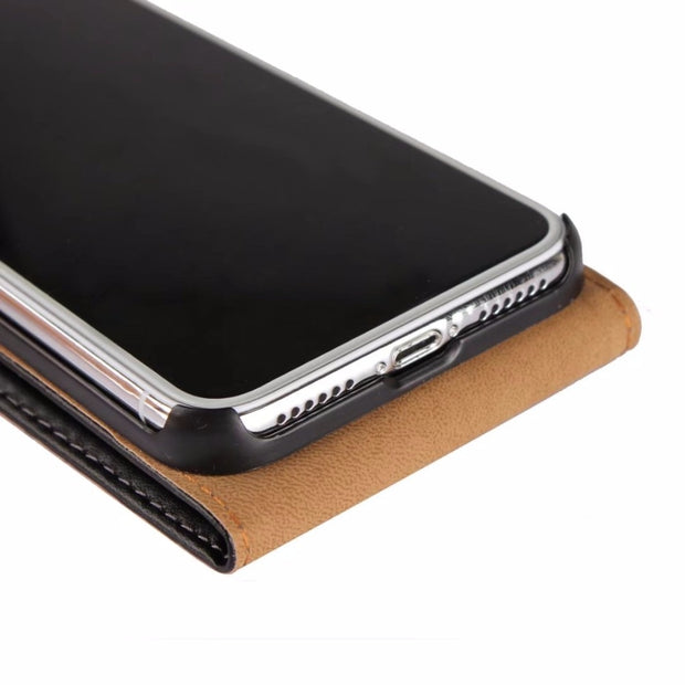 For Apple Iphone XS Flip Case,Genuine Leather Case Pouch For Iphone X Flip Shell Cover