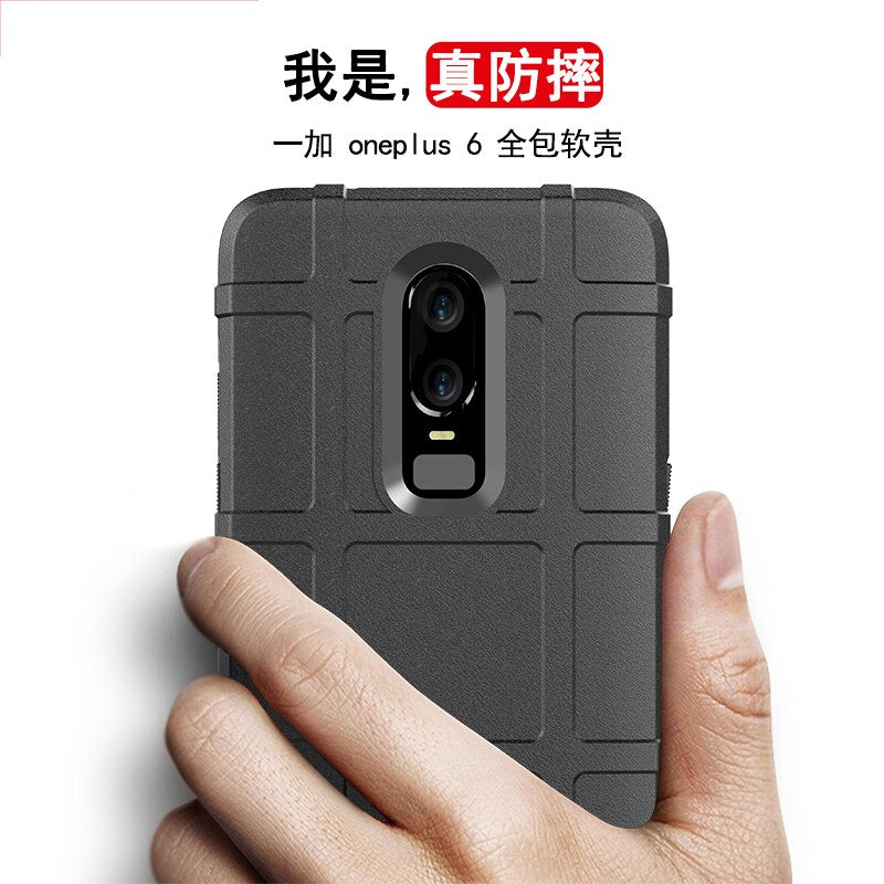 For Coque OnePlus 6 Case Silicone Cell Phone Case For One Plus 6 Case Rugged Armor Shockproof Dous Cover Black