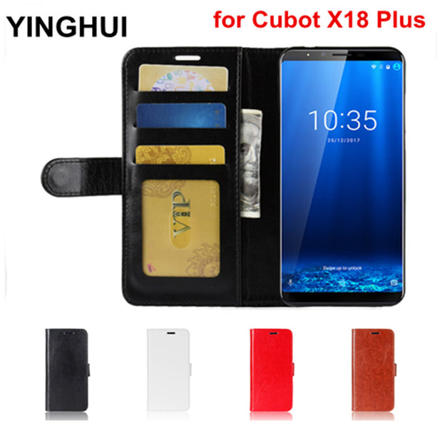 For Cubot X18 Plus Case 5.99 Inch Wallet Stand PU Leather Case For Cubot X18 Plus Cover Phone Cases Flip Cover Black White Brown
