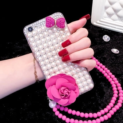 For Huawei Honor 8 Lite Pro 9 V10 7X Y7 Prime Nova Plus 2S Glitter Pearl Rhinestone Bow Phone Case Shine Soft Diamond Back Cover