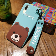 For Huawei P20 Cartoon Case, Lovely Bear Back Cover For Huawei P20 Pro / P20 Lite (nove 3E ) Phone Case +toy Stander + Strap