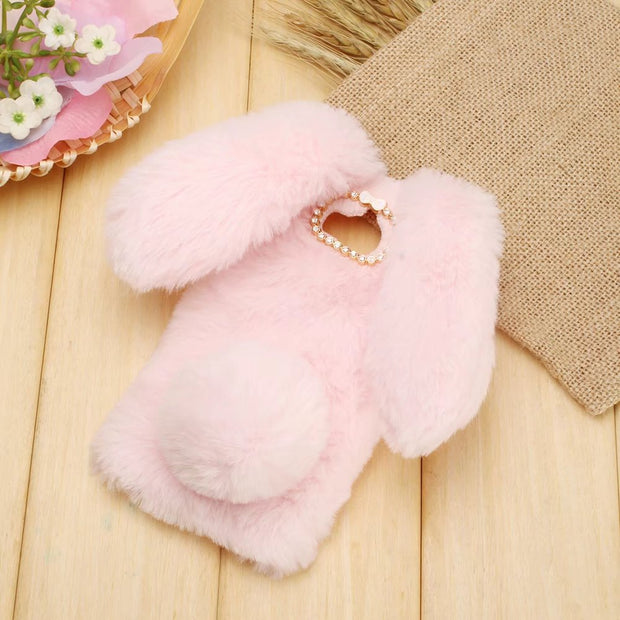 For Huawei Y5 Y7 /2017 Case Warm Plush Fluffy Pet Rabbit For Huawei Y5/2017 Fur TPU Case For Huawei Y7/2017 Pink Doll Soft Cover